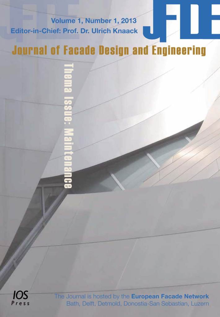 JFDE cover - Journal of facade design and engineering scientific journal open access education publications on facade design construction structural design facility management climate design sustainabilty, IOS Press, Ulrich Knaack, Tillmann Klein, edition 1, The Netherlands, TU Delft