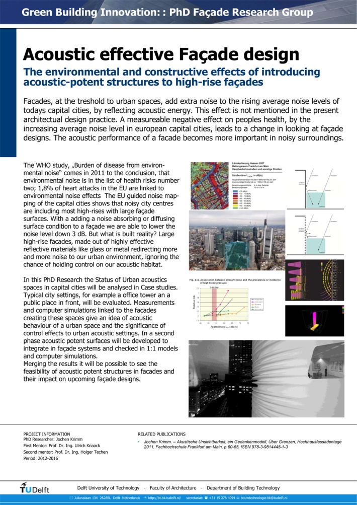 Acoustic effective Facade Design - PhD research by Jochen Krimm. The environmental and constructive effects of introducing acoustic-potent structures to high-rise facades